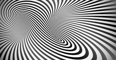ベクトル光学錯覚の黒と白のツイスト ストライプ抽象的な背景