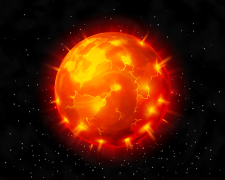 Vector red burning star before explosion on cosmic background