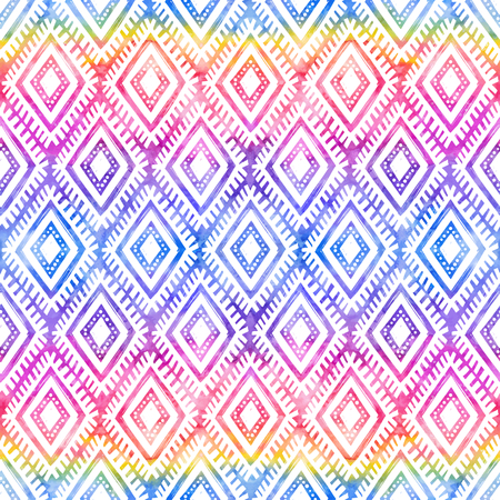 Rainbow colors tribal ornament on white background vector seamless pattern