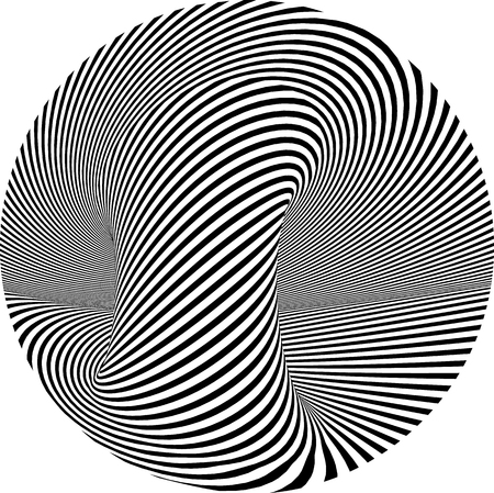 Abstract striped round form vector optical illusion illustration