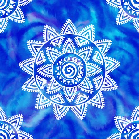 Boho style shibori white tribal ornament on blue watercolor background vector seamless pattern Иллюстрация