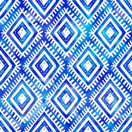 indigo: Blue watercolor indigo color tribal style vector seamless pattern