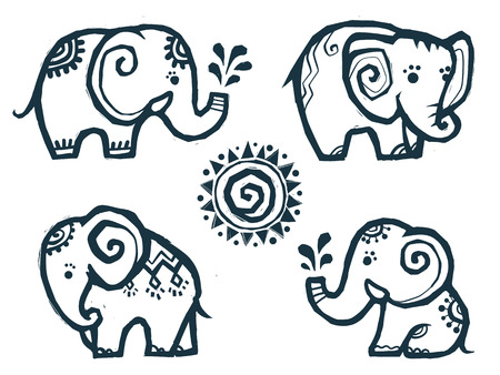 Cute little doodle elephants in Indian style