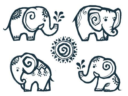 Pequeños elefantes lindos del doodle en estilo indio