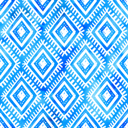 Vector hand drawn white ornament on blue watercolor background Ilustração
