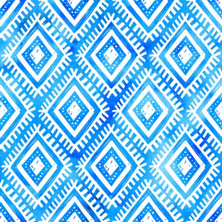 Vektor Hand gezeichneten weißen Ornament auf blauem Aquarell Hintergrund Standard-Bild - 79130484