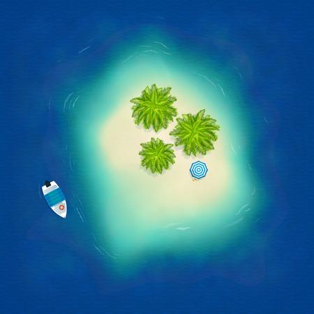 Little Maldives island in ocean with palms, umbrella and boat, vector illustration Ilustração