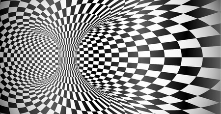 Vector abstract black and white grid optical illusion banner background