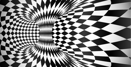 Vector black and white rhombus pattern surface optical illusion abstract background Illustration