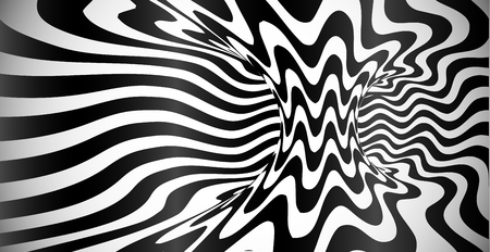 Vector abstract black and white wavy stripes optical illusion background