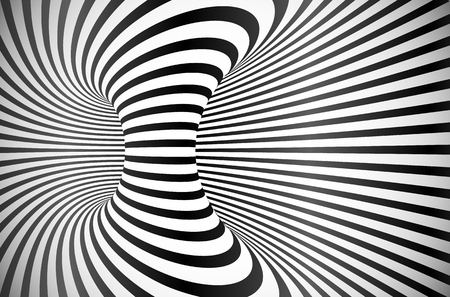 Black and white stripes optical illusion abstract vector background Illustration