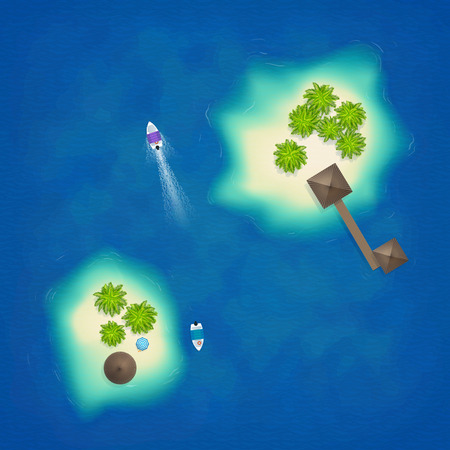 Tropical islands aerial top view with boats and bamboo huts, vector illustration Illustration