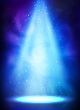 Blue magic smoky spotlight vector poster background