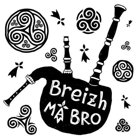 Symboles celtiques vectoriels et silhouette de bigpipe breton biniou avec signe Breizh Ma Bro Banque d'images - 87111756