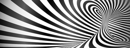 Black and white twisted lines horizontal pattern. Stock Photo