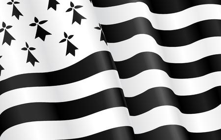 Cropped breton flag - flag of Brittany. Stock Photo