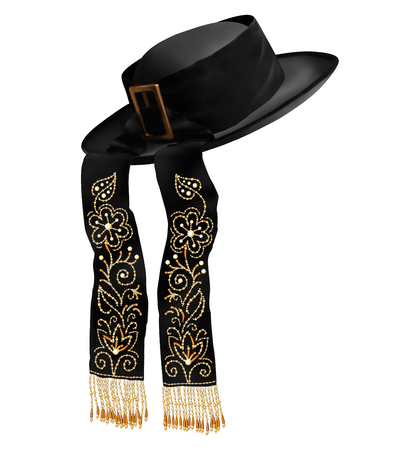 Black vector breton traditional men hat with embroidered ribbons