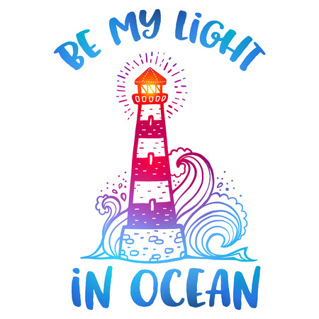 Hand drawn colorful doodle lighthouse Vetores
