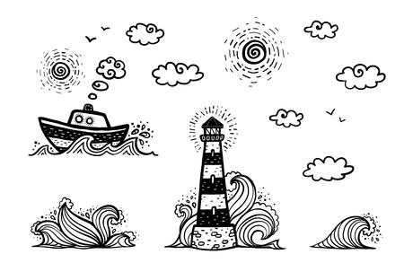 Marine w stylu rysunkowych doodles: statek, latarnia morska, fale, słońce i chmury