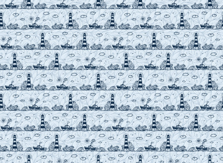 Lighthouse, ship, waves and clouds in kids doodle style, dark blue vector pattern