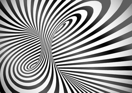 Black and white optical illusion tornado swirl