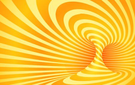 Orange color striped swirl vector optical illusion
