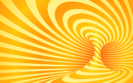 Orange color striped swirl vector optical illusion