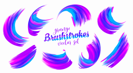 Vibrant blue and magenta colors paint vector brushstrokes set