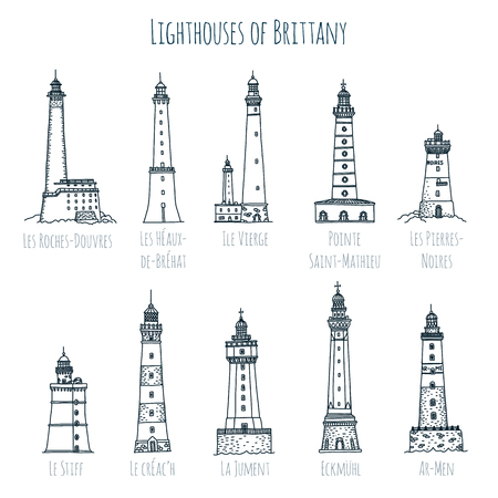 Set of hand drawn vector sketch style famous lighthouses of Brittany