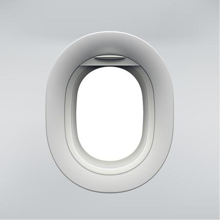 Vector realistic airplane window, aircraft illuminator. Illustration