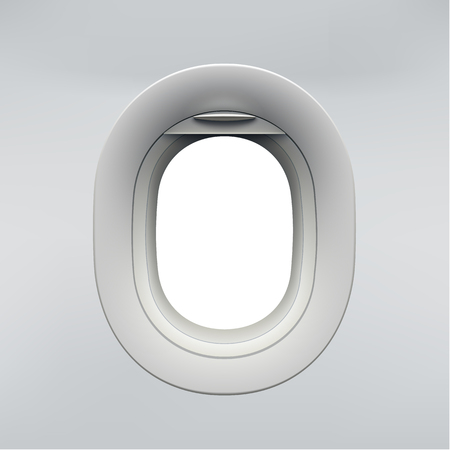 Vector realistic airplane window, aircraft illuminator. Stock Illustratie