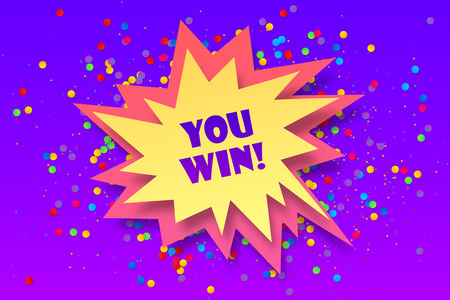Colorful vector paper bang shape with sign You win