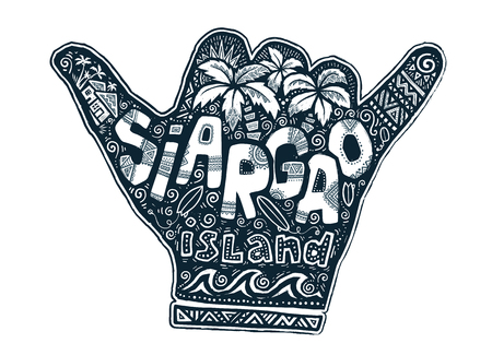 Surfers hang loose hand silhouette with hand drawn lettering about Siargao island