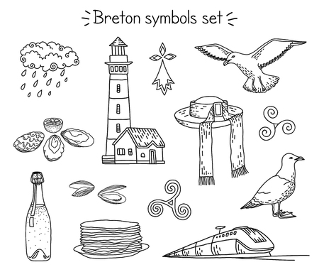 Vector breton elements: lighthouse, seagulls, traditional hut, train, cidre and crepes, seafood and rainy cloud, triskele and hermine.
