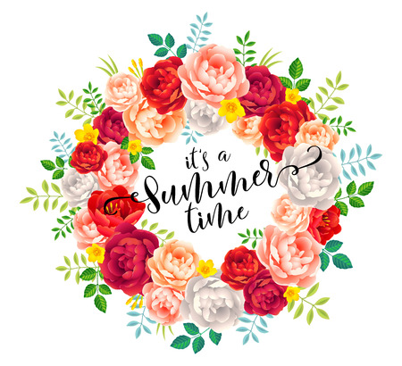 Its a Summer time vector calligraphic lettering in bright summer flowers wreath on white background