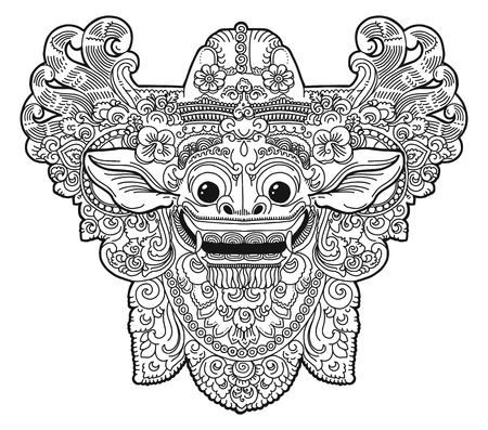 Vector doodle style balinese religion Barong demon vector mask, colouring book image