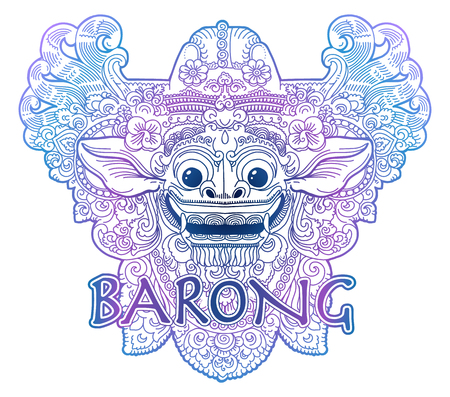 Blue and violet colours doodle style vector balinese lion god Barong mask isolated on white