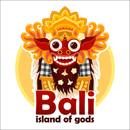 Bali island of gods sign with bright traditional Balinese Barong mask isolated on white background Ilustrace