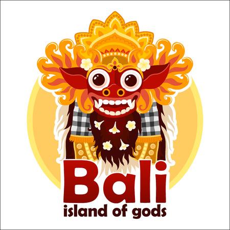 L'isola degli dei di Bali firma con la maschera di Barong balinese tradizionale luminosa isolata su fondo bianco