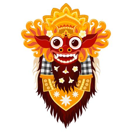 벡터 발리 신 Barong 전통 마스크 만화 스타일 흰색 배경에 고립
