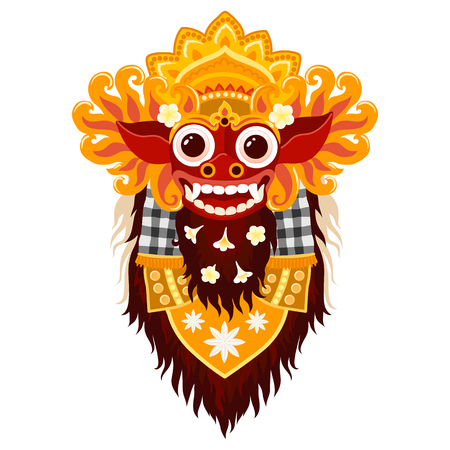 Vector Balinese god Barong traditional mask in cartoon style isolated on white background Çizim