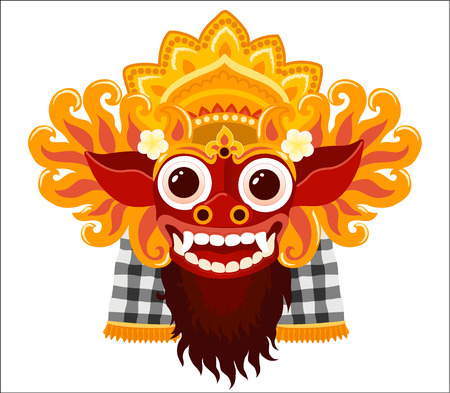 Barong balinese god vector mask in cartoon style isolated on white background.