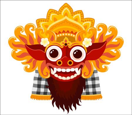 Maschera di vettore di dio balinese Barong nello stile del fumetto isolato su priorità bassa bianca.