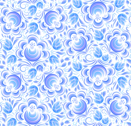 Blue painted flowers ornament in Russian gzhel style vector seamless pattern