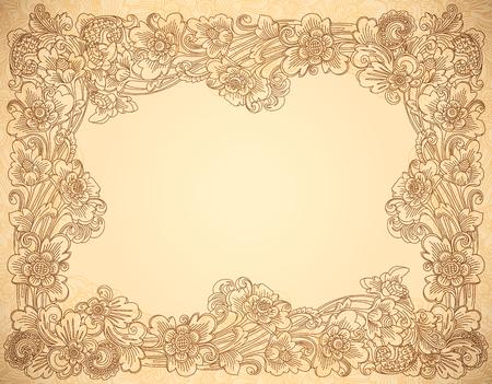 Vector vintage style beige colors lineart floral frame