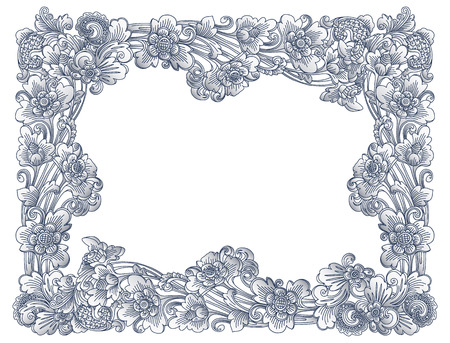 Vintage vector lineart floral frame in balinese style isolated on white background