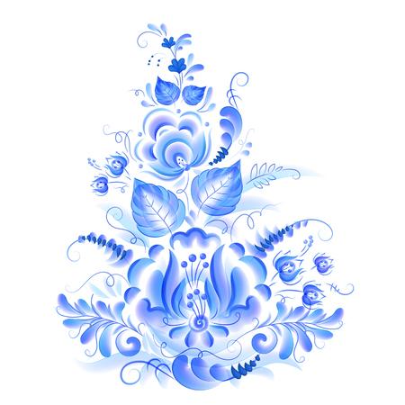 Motivo floral azul con hojas y flores en acuarela estilo gzhel, elemento de diseño vectorial aislado sobre fondo blanco.