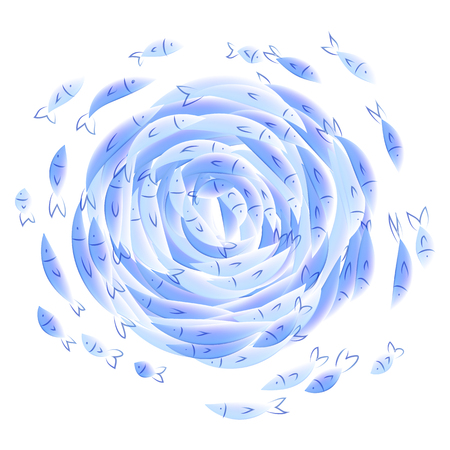 Blue watercolor style little fishes twisted circle isolated on white background