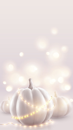 White pumpkins and soft pink magic lights vector holiday background. Romantic wedding card vertical backdrop.