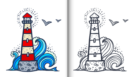 Doodle style white and red lighthouse vector coloring book illustration with colored sample and clear version isolated on white background Vettoriali